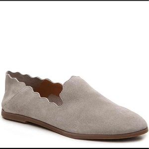 Lucky Brand Beige Suede Scallop Flat Shoe Sz 8